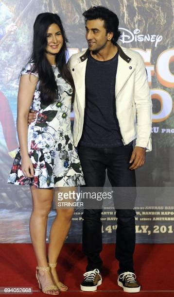 Indian Bollywood actors Katrina Kaif and Ranbir attend the song launch event for their upcoming romantic comedy Hindi film 'Jagga Jasoos written and...