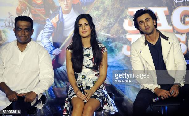 Indian Bollywood actors Katrina Kaif and Ranbir attend the song launch event for their upcoming romantic comedy Hindi film 'Jagga Jasoos with writter...