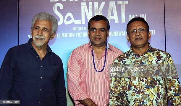 Indian Bollywood actors Nasseruddin Shah Paresh Rawal and Annu Kapoor during the trailer launch of their upcoming Hindi film Dharam Sankat Mein in...