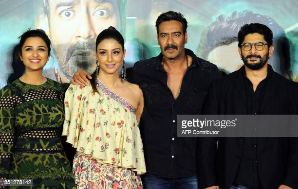 Indian Bollywood actors Parineeti Chopra Tabu Ajay Devgn and Arshad Warshi during the trailer launch of their upcoming Hindi film 'Golmaal Again' in...
