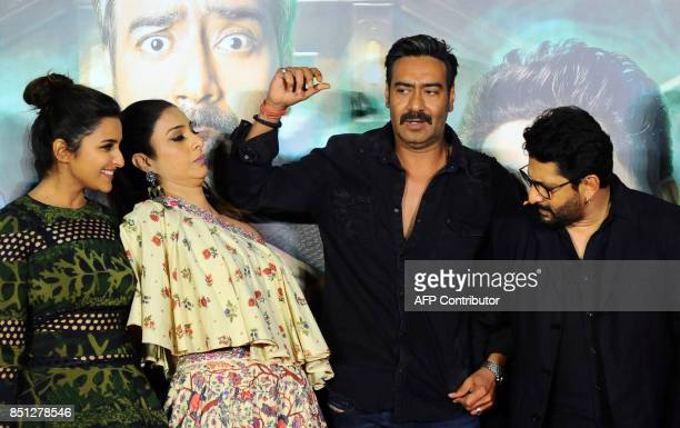 Indian Bollywood actors Parineeti Chopra Tabu Ajay Devgn and Arshad Warshi attend the trailer launch of their upcoming Hindi film 'Golmaal Again'...