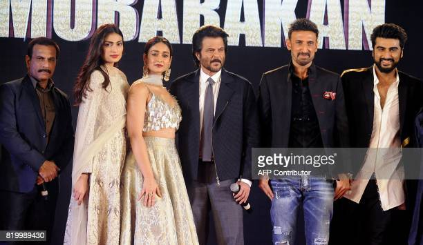 Indian Bollywood actors Pawan Malhotra Athiya Shetty Ileana DCruz Anil Kapoor Rahul Dev Arjun Kapoor attend a promotional event for their upcoming...