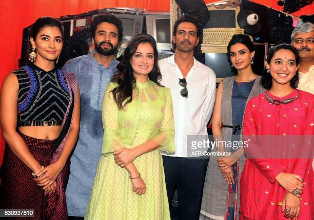 Indian Bollywood actors Pooja Hegde Jackky Bhagnani Dia Mirza Arjun Rampal Diana Penty and Sayani Gupta pose for a photograph during the launch of...