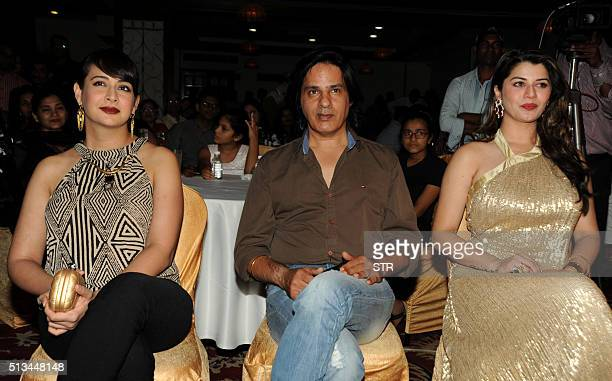 Indian Bollywood actors Preeti Jhangiani Rahul Roy and Kainaat Arora attend an event in honour of Bollywood music director and singer Anu Malik at...