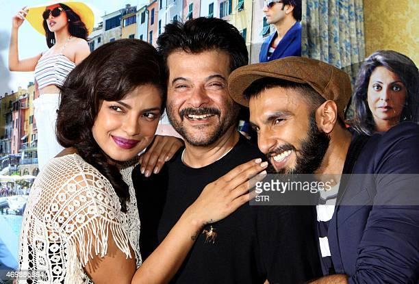 Indian Bollywood actors Priyanka Chopra Anil Kapoor and Ranveer Singh pose during the trailer showing of upcoming Hindi comedydrama film 'Dil...