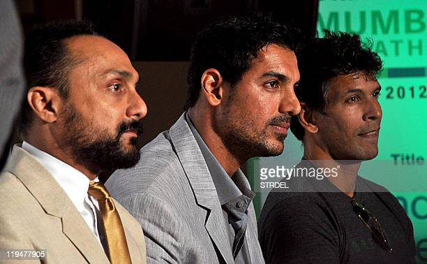 Indian Bollywood actors Rahul Bose John Abraham and Milind Soman attend the registrations for the marathon and halfmarathon categories of the 9th...
