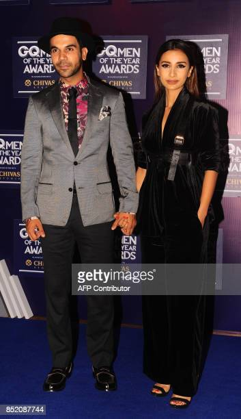 Indian Bollywood actors Rajkummar Rao and Patralekha attend GQ India's ninth anniversary with the annual Men of the Year Awards 2017 in Mumbai on...