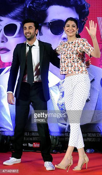 Indian Bollywood actors Ranbir Kapoor and Anushka Sharma pose for a photograph during a promotional event for the forthcoming Hindi film 'Bombay...