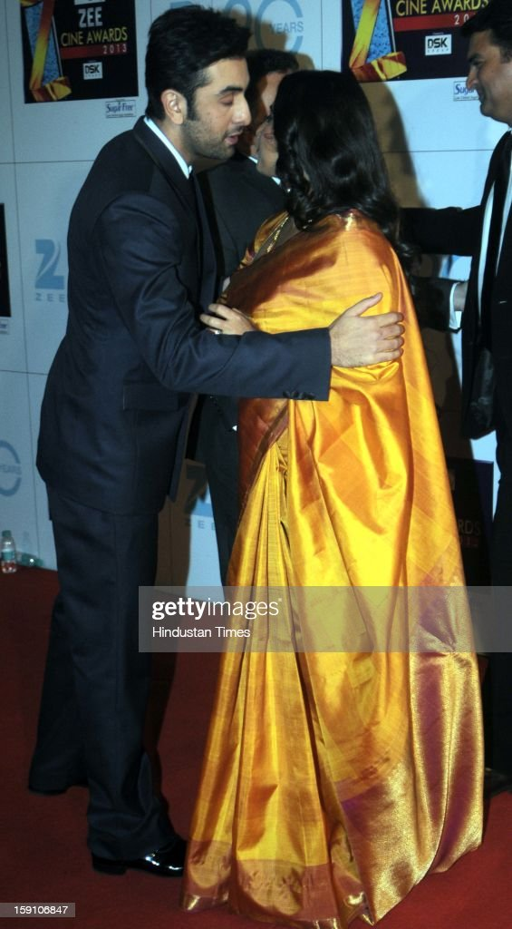 Indian bollywood actors Ranbir Kapoor and Vidya balan with her husband Siddharth Roy Kapoor, CEO of UTV Motion Pictures attending Zee Cine Awards 2013 at Yash Raj Studio on January 6, 2013 in Mumbai, India.