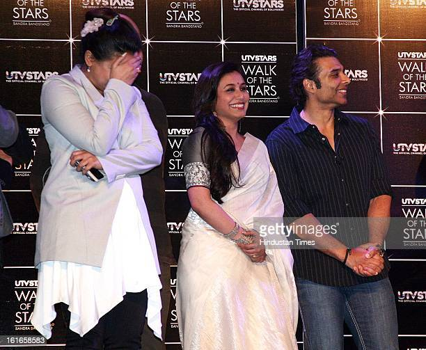 Indian bollywood actors Rani Mukherjee and Uday Chopra with dance choreographer Vaibhavi Merchant during the unveiling of Yash Chopra's statue by his...