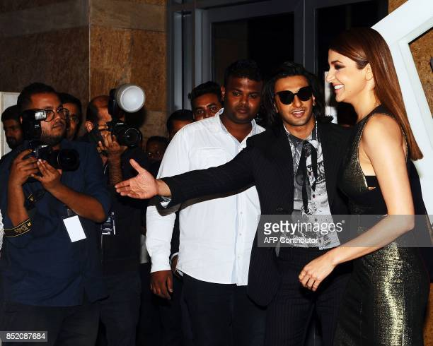 Indian Bollywood actors Ranveer Singh and Anushka Sharma attend GQ India's ninth anniversary with the annual Men of the Year Awards 2017 in Mumbai on...