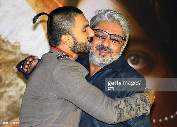 Indian Bollywood actors Ranveer Singh attends the launch of the upcoming Hindi film 'Bajirao Mastani' directed by Sanjay Leela Bhansali in Mumbai on...