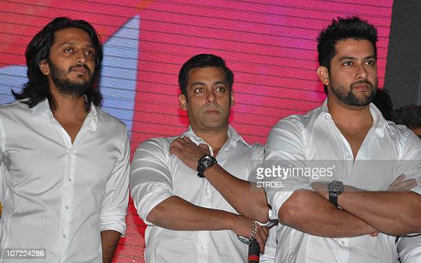 Indian bollywood actors Ritesh Deshmukh Salman Khan and Aftab Shivdasani pose for a Celebrity Cricket League event in Mumbai on November 30 2010 AFP...