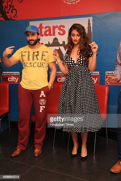 Indian Bollywood actors Saif Ali Khan and Ileana DCruz during an exclusive interview for promotion of their upcoming movie Happy Ending at HT House...
