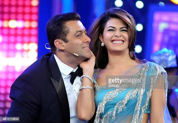 Indian Bollywood actors Salman Khan and Jacqueline Fernandez on the set of television show Bigg Boss 8 in Lonavala on January 3 2015 AFP PHOTO/STR