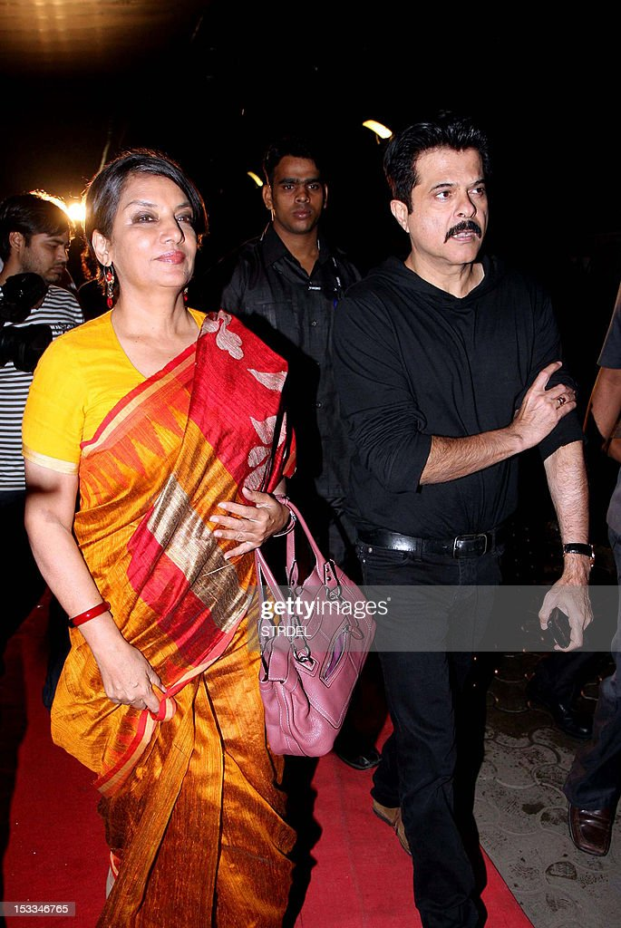 """Indian Bollywood actors Shabana Azmi (L) and Anil Kapoor attended the premier of the Hindi film """"Chittagong"""" directed by Bedabrata Pain in Mumbai on October 3, 2012."""