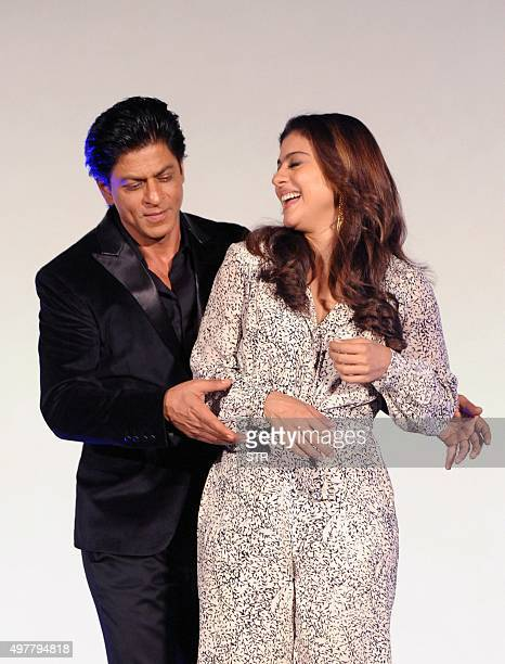 Indian Bollywood actors Shah Rukh Khan and Kajol Devgn attend the song launch for the upcoming Hindi film 'Dilwale' in Mumbai on November 18 2015 AFP...