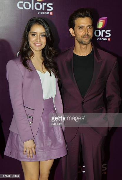 Indian Bollywood actors Shraddha Kapoor and Hrithik Roshan pose for a photograph during a promotional event in Mumbai on late April 18 2015 AFP PHOTO...