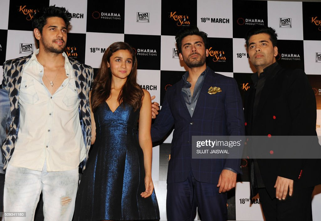 Indian Bollywood actors (L-R) Sidharth Malhotra, Alia Bhatt and Pakistani actor Fawad Khan and producer Karan Johar attend the trailer launch of upcoming Hindi film 'Kapoor & Sons' in Mumbai on February 10, 2016. AFP PHOTO / Sujit Jaiswal / AFP / SUJIT JAISWAL