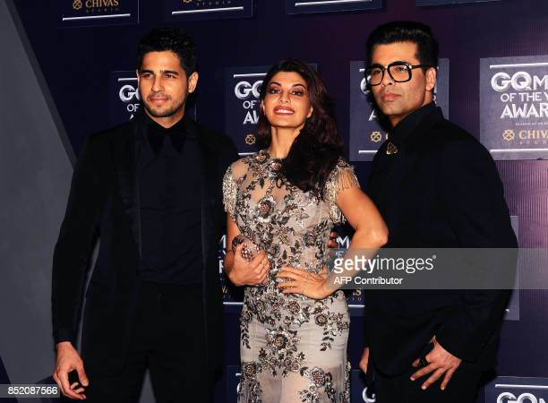 Indian Bollywood actors Sidharth Malhotra Jacqueline Fernandez and director Karan Johar attend GQ India's ninth anniversary with the annual Men of...