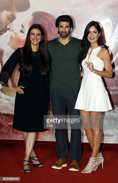 Indian Bollywood actors Tabu Aditya Roy Kapur and Katrina Kaif attend the trailer launch of upcoming Hindi film 'Fitoor' in Mumbai on January 4 2016...