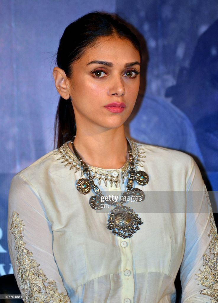 Indian Bollywood actress <a gi-track='captionPersonalityLinkClicked' href=/galleries/search?phrase=Aditi+Rao+Hydari&family=editorial&specificpeople=7435722 ng-click='$event.stopPropagation()'>Aditi Rao Hydari</a> attends the trailer launch of upcoming Hindi film 'Wazir' in Mumbai on November 18, 2015.