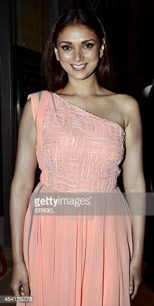 Indian Bollywood actress Aditi Rao Hydari poses for a photograph during the final night of the Lakme Fashion Week Winter/Festival 2014 in Mumbai on...