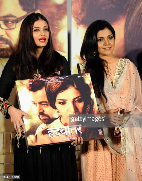 Indian Bollywood actress Aishwarya Rai Bachchan and Marathi film actress Mukta Barve attend the music launch of the upcoming Marathilanguage film...