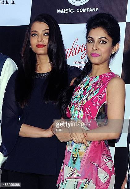 Indian Bollywood actress Aishwarya Rai Bachchan and Priya Banerjee pose during the song launch of the upcoming Hindi film 'Jazbaa' directed by Sanjay...