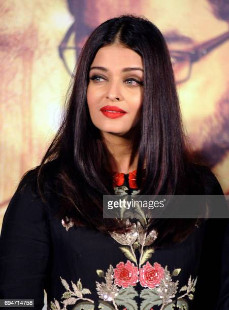 Indian Bollywood actress Aishwarya Rai Bachchan attends the music launch of the upcoming Marathilanguage film 'Hrudyantar' in Mumbai on June 10 2017...