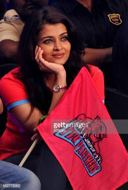 Indian Bollywood actress Aishwarya Rai Bachchan looks on during a professional kabaddi league match in Mumbai on late July 26 2014 AFP PHOTO/STR