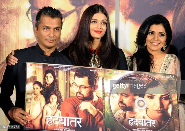 Indian Bollywood actress Aishwarya Rai Bachchan Marathi film actress Mukta Barve and designer/director Vikram Phadnis attend the music launch of the...