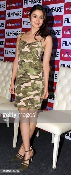 Indian Bollywood actress Alia Bhatt poses during the launch of the 'FilmFare' magazine cover promoting Hindi film 'Shaandar' directed by Vikas Bahl...