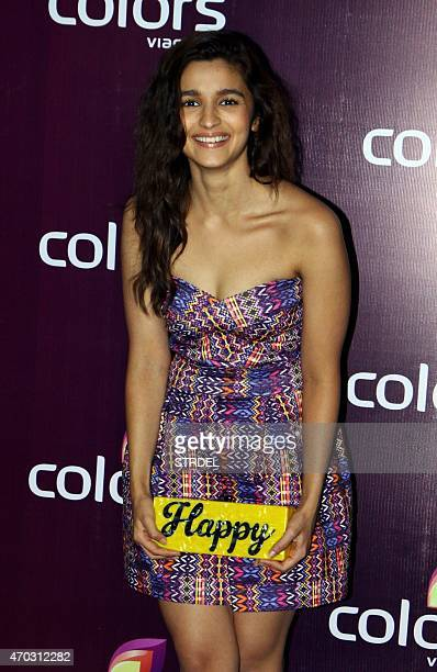 Indian Bollywood actress Alia Bhatt poses for a photograph during a promotional event in Mumbai on late April 18 2015 AFP PHOTO / STR