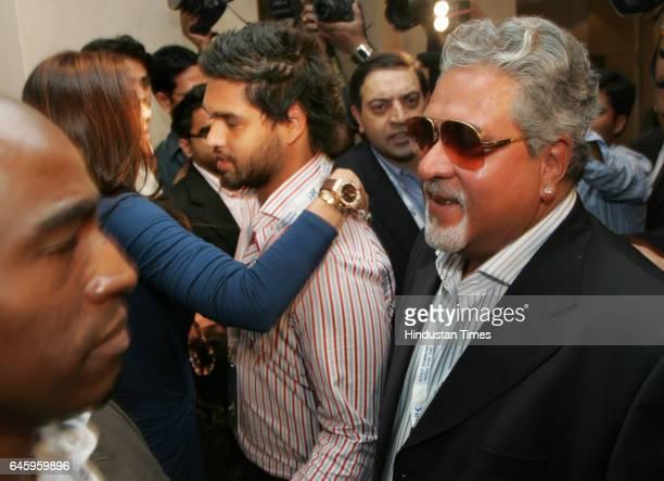 Indian Bollywood actress and owner of Rajasthan Royals IPL cricket team Shilpa Shetty greets Siddharth mallya son of Vijay Mallya owner of Royal...