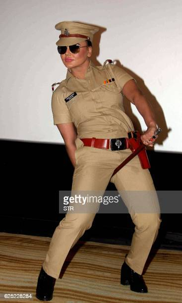Indian Bollywood actress and politician Rakhi Sawant performs during a promotional event for the forthcoming web series 'Rakhi in Khaki' in Mumbai on...