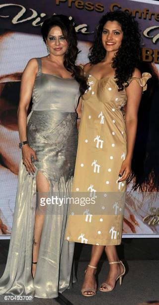 Indian Bollywood actress and producer Poonam Jhawer and Saiyami Kher attend a press conference to announce the Dadasaheb Phalke Excellence Awards...