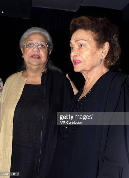 Indian Bollywood actress and screenwriter Honey Irani and Krishna Raj Kapoor attend the screening of film 'Jagga Jasoos in Mumbai on July 13 2017 /...