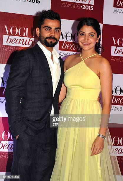Indian Bollywood actress Anushka Sharma and Indian cricketer Virat Kohli attend the Vogue Beauty Awards ceremony in Mumbai late on July 21 2015 AFP...