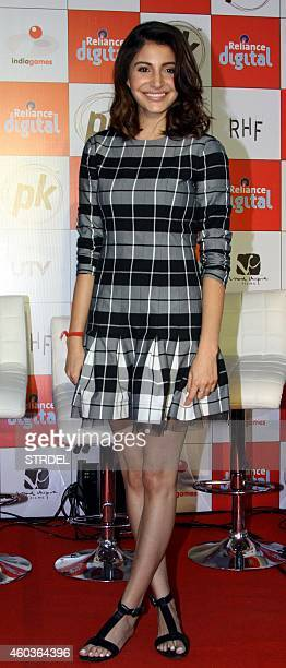Indian Bollywood actress Anushka Sharma attends the launch of the official mobile game for the upcoming Hindi film 'PK' in Mumbai on December 12 2014...
