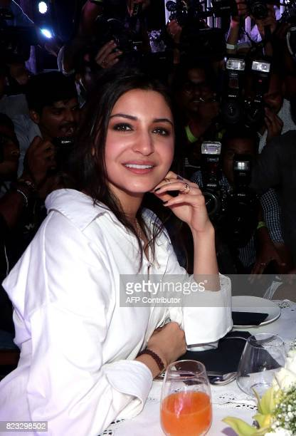 Indian Bollywood Actress Anushka Sharma poses for a photograph during a promotional event for the forthcoming Hindi film 'Jab Harry Met Sejal' in...
