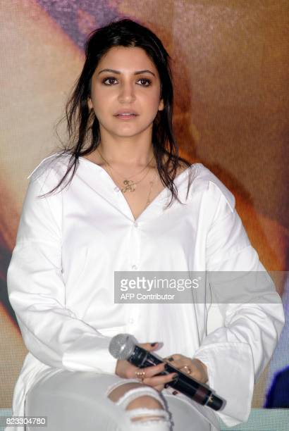 Indian Bollywood actress Anushka Sharma takes part in a promotional event for the forthcoming Hindi film 'Jab Harry Met Sejal' in Mumbai on July 26...