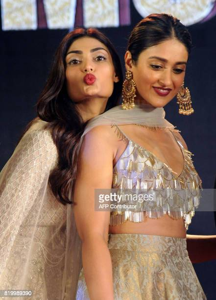 Indian Bollywood actress Athiya Shetty and Ileana DCruz attend a promotional event for their upcoming Hindi film 'Mubarakan' in Mumbai on July 20...