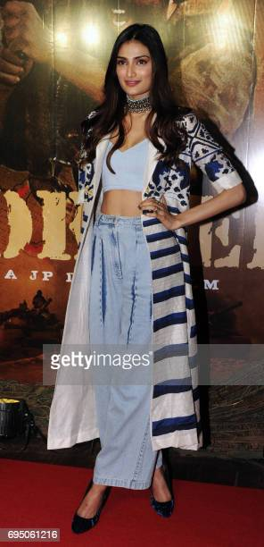 Indian Bollywood actress Athiya Shetty poses for a photograph at the 20th anniversary celebration of Hindi film Border produced and directed by J P...