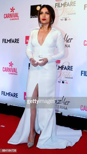 Indian Bollywood actress Bhumi Pednekar poses for a photograph during the Filmfare Glamour Style Awards 2017 in Mumbai on December 1 2017 / AFP PHOTO...