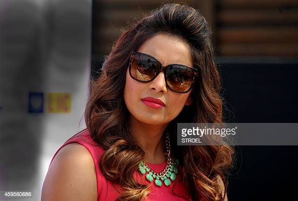 Indian Bollywood actress Bipasha Basu looks on during a promotional event for the Pinkathon women's marathon in Mumbai on November 25 2014 AFP...
