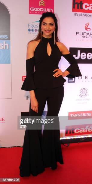 Indian Bollywood actress Deepika Padukone poses as she attends the 'HT Most Stylish' awards ceremony in Mumbai late March 24 2017 PHOTO / STR