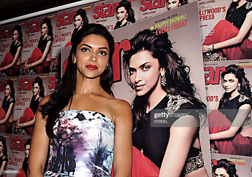 Indian Bollywood actress Deepika Padukone poses during the unveiling of a Special Diwali edition of Star Week magazine in Mumbai on November 5, 2013.