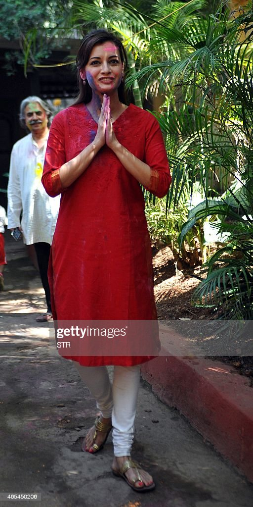 Indian Bollywood actress <a gi-track='captionPersonalityLinkClicked' href=/galleries/search?phrase=Dia+Mirza&family=editorial&specificpeople=696826 ng-click='$event.stopPropagation()'>Dia Mirza</a> celebrates Holi, the 'festival of colours' in Mumbai on March 6, 2015.