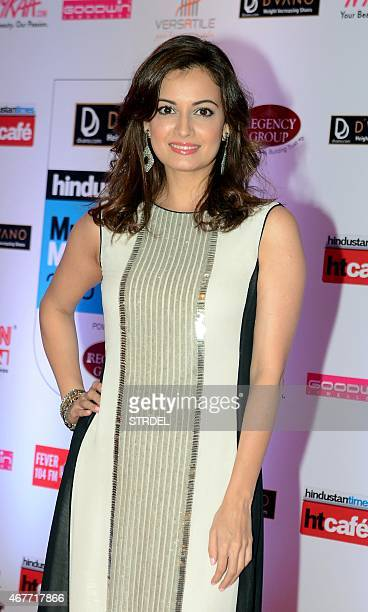 Indian Bollywood actress Dia Mirza poses as she attends the HT Mumbai's Most Stylish Awards 2015 ceremony in Mumbai late March 26 2015 AFP PHOTO/STR